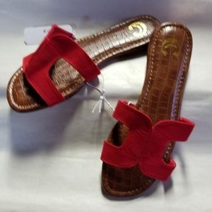 Charming Charlie Sandals, Brown with Red Straps